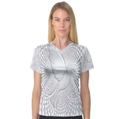 Points Circle Dove Harmony Pattern Women s V Neck Sport Mesh Tee