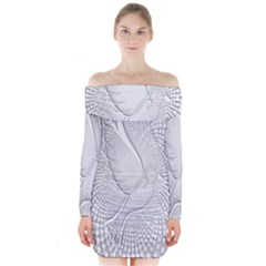 Points Circle Dove Harmony Pattern Long Sleeve Off Shoulder Dress