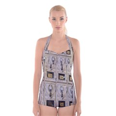 Post Office Old Vintage Building Boyleg Halter Swimsuit