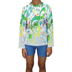 Points Circle Music Pattern Kids  Long Sleeve Swimwear