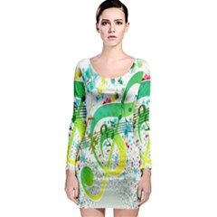 Points Circle Music Pattern Long Sleeve Bodycon Dress