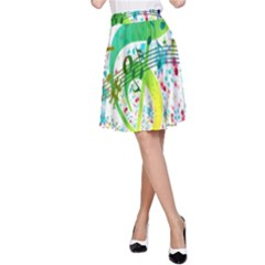 Points Circle Music Pattern A-Line Skirt