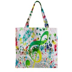 Points Circle Music Pattern Zipper Grocery Tote Bag