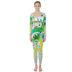 Points Circle Music Pattern Long Sleeve Catsuit