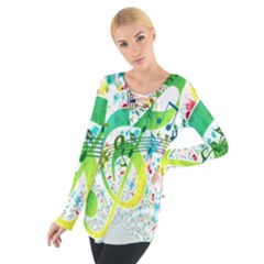 Points Circle Music Pattern Women s Tie Up Tee