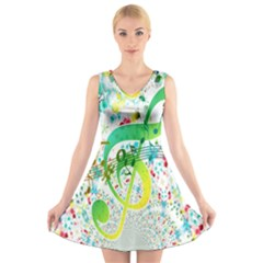 Points Circle Music Pattern V Neck Sleeveless Skater Dress