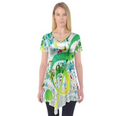 Points Circle Music Pattern Short Sleeve Tunic