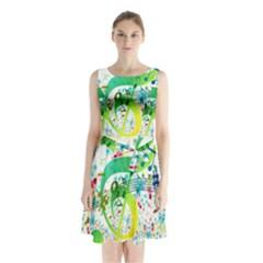 Points Circle Music Pattern Sleeveless Chiffon Waist Tie Dress