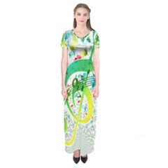 Points Circle Music Pattern Short Sleeve Maxi Dress