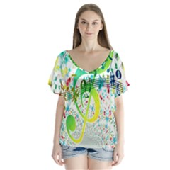 Points Circle Music Pattern Flutter Sleeve Top