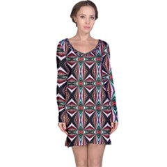 Plot Texture Background Stamping Long Sleeve Nightdress