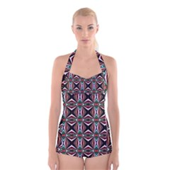 Plot Texture Background Stamping Boyleg Halter Swimsuit
