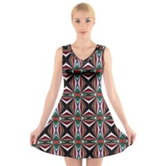 Plot Texture Background Stamping V Neck Sleeveless Skater Dress