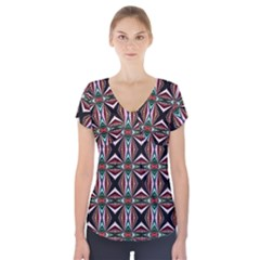 Plot Texture Background Stamping Short Sleeve Front Detail Top