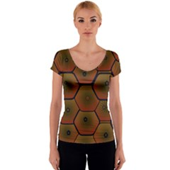 Psychedelic Pattern Women s V-Neck Cap Sleeve Top