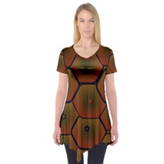 Psychedelic Pattern Short Sleeve Tunic