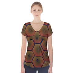 Psychedelic Pattern Short Sleeve Front Detail Top