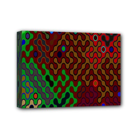 Psychedelic Abstract Swirl Mini Canvas 7  x 5