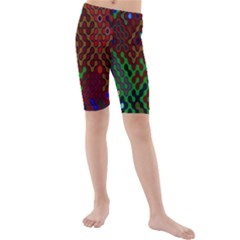 Psychedelic Abstract Swirl Kids  Mid Length Swim Shorts
