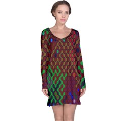 Psychedelic Abstract Swirl Long Sleeve Nightdress