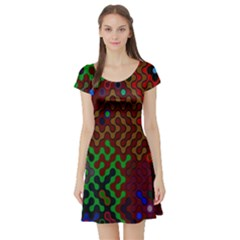Psychedelic Abstract Swirl Short Sleeve Skater Dress