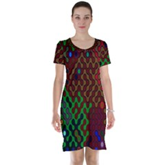 Psychedelic Abstract Swirl Short Sleeve Nightdress