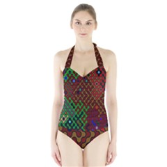 Psychedelic Abstract Swirl Halter Swimsuit
