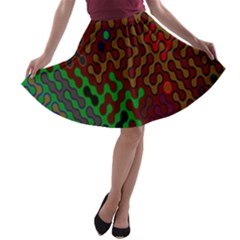 Psychedelic Abstract Swirl A Line Skater Skirt