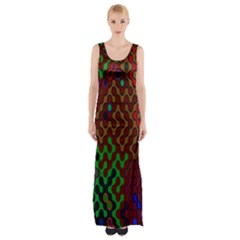 Psychedelic Abstract Swirl Maxi Thigh Split Dress