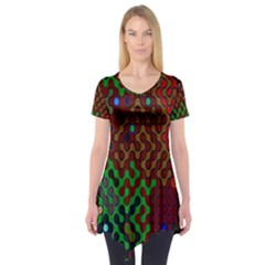 Psychedelic Abstract Swirl Short Sleeve Tunic