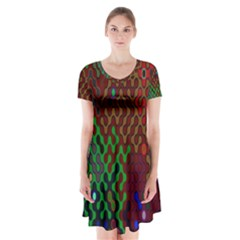 Psychedelic Abstract Swirl Short Sleeve V-neck Flare Dress