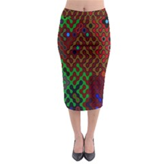 Psychedelic Abstract Swirl Midi Pencil Skirt