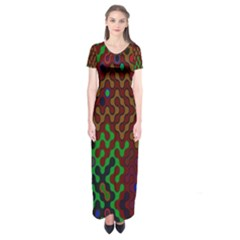 Psychedelic Abstract Swirl Short Sleeve Maxi Dress