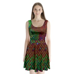 Psychedelic Abstract Swirl Split Back Mini Dress