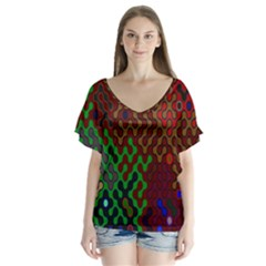 Psychedelic Abstract Swirl Flutter Sleeve Top