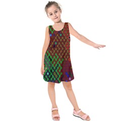 Psychedelic Abstract Swirl Kids  Sleeveless Dress