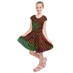 Psychedelic Abstract Swirl Kids  Short Sleeve Dress