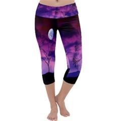 Purple Sky Capri Yoga Leggings