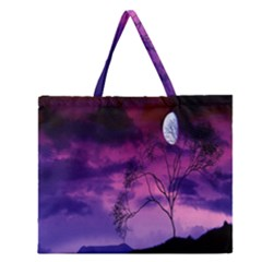 Purple Sky Zipper Large Tote Bag