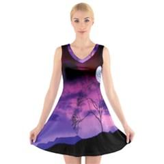 Purple Sky V Neck Sleeveless Skater Dress