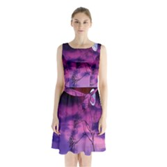 Purple Sky Sleeveless Chiffon Waist Tie Dress