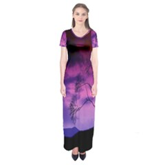 Purple Sky Short Sleeve Maxi Dress