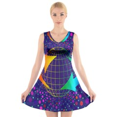 Recycling Arrows Circuit V Neck Sleeveless Skater Dress