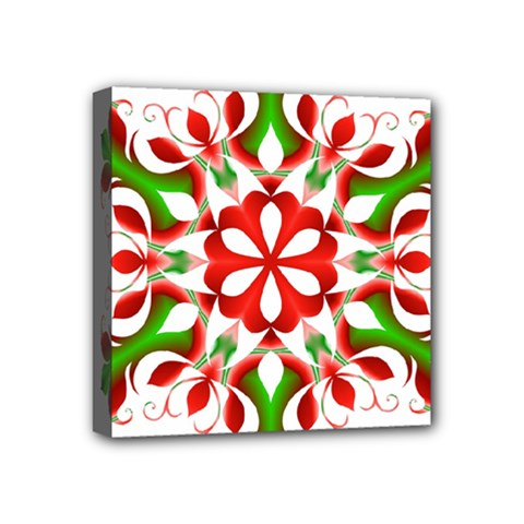 Red And Green Snowflake Mini Canvas 4  x 4