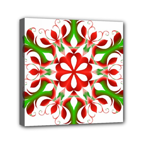 Red And Green Snowflake Mini Canvas 6  x 6