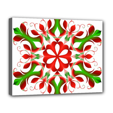 Red And Green Snowflake Canvas 14  X 11