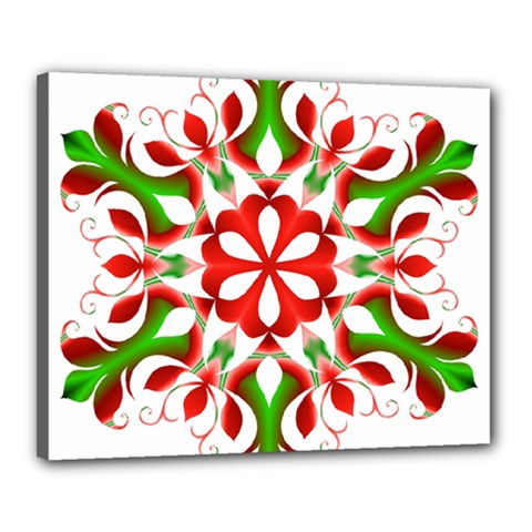 Red And Green Snowflake Canvas 20  x 16