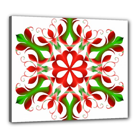 Red And Green Snowflake Canvas 24  x 20