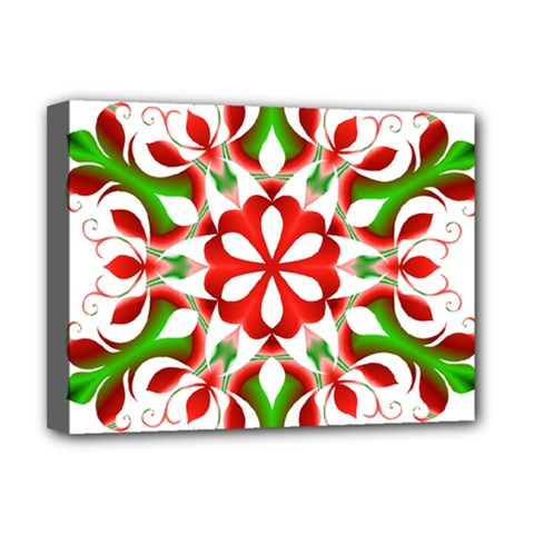 Red And Green Snowflake Deluxe Canvas 16  x 12