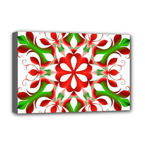 Red And Green Snowflake Deluxe Canvas 18  x 12
